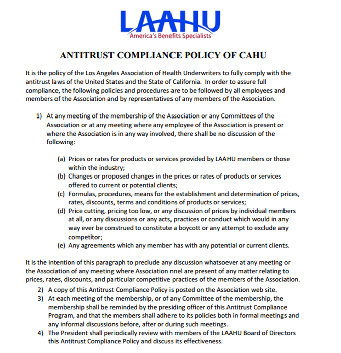 LAAHU-CAHU Anti-Trust policy